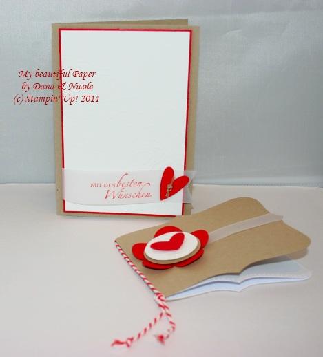 Karte und Mini in rot-weiß
