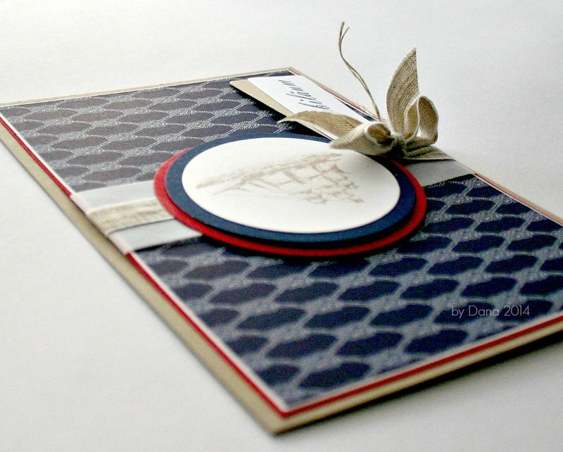 Nautical card with linen thread
